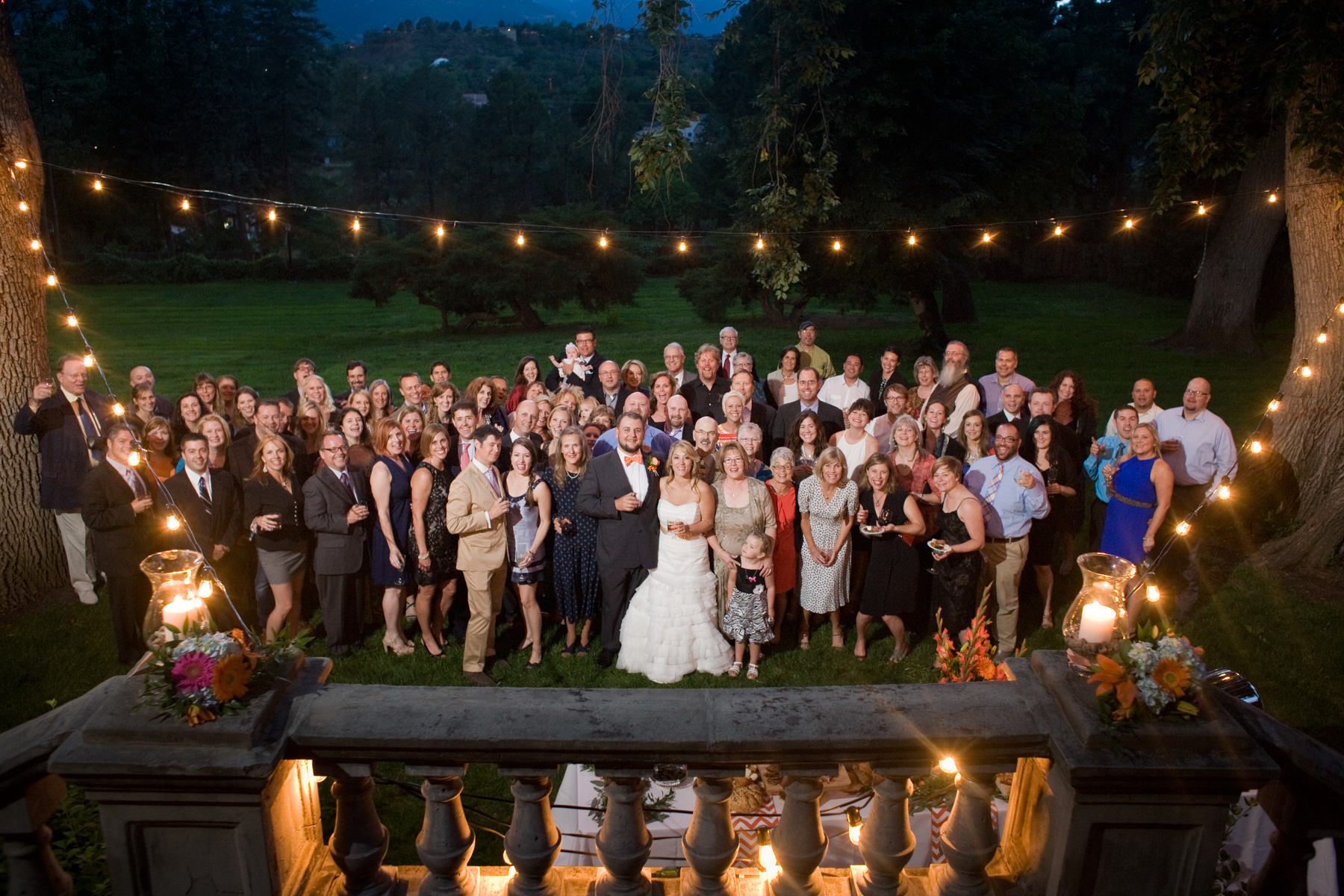 Group photograph of all wedding guests at Stewart House