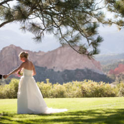 Bride and groom holds hands underneath a pine tree at Garden of the Gods Club.