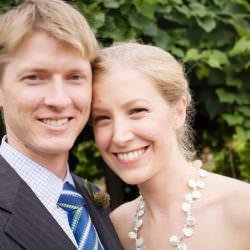 Bride and groom portrait in Scripture Garden