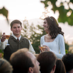 Bride and groom make a toast in vineyard