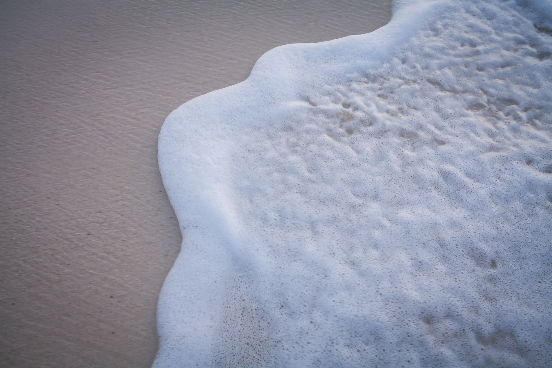 White ocean foam on beach.