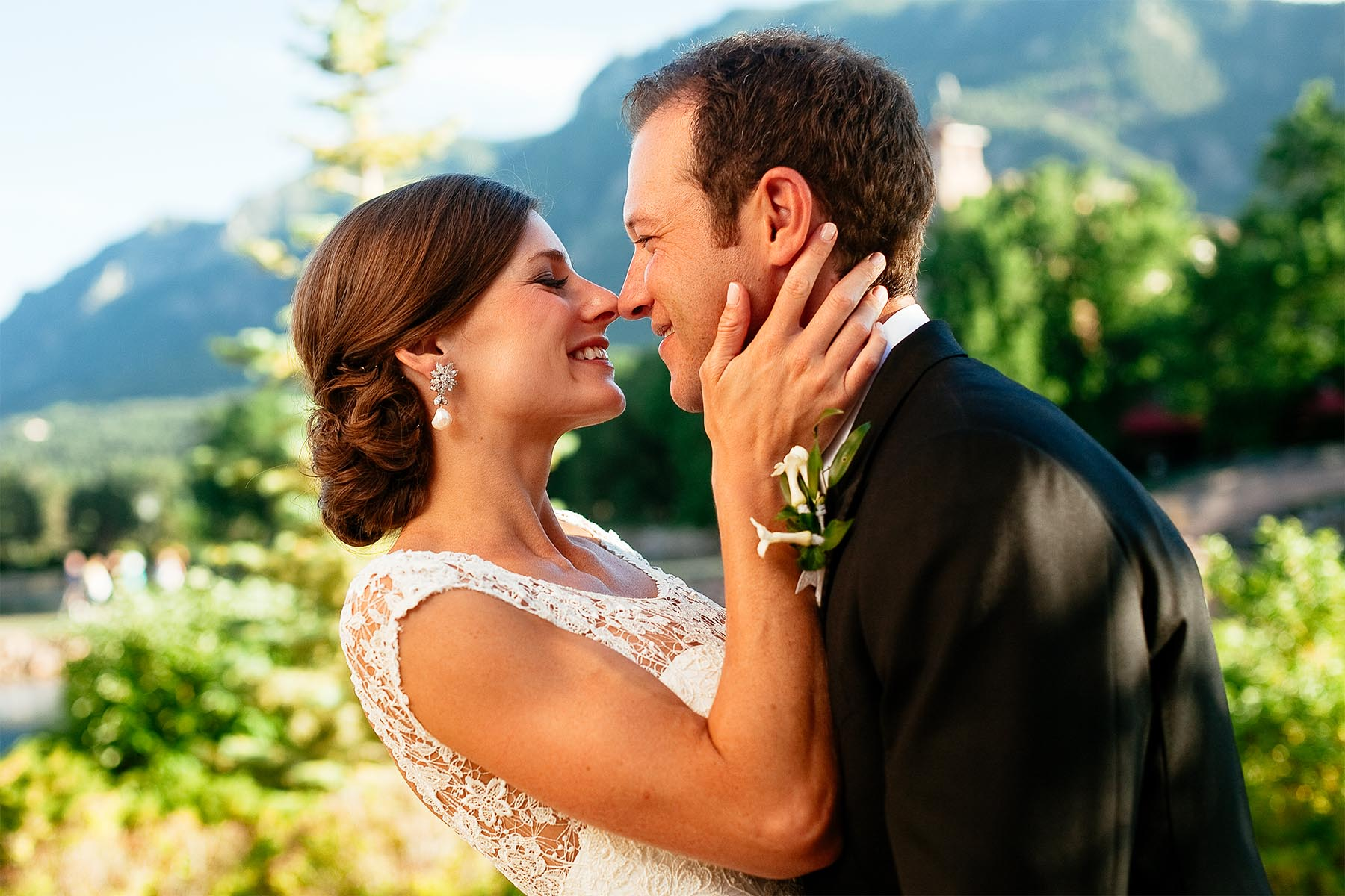 Bride and groom hold each other at The Broadmoor.
