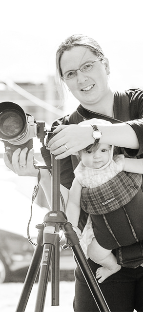 Mother with baby and camera