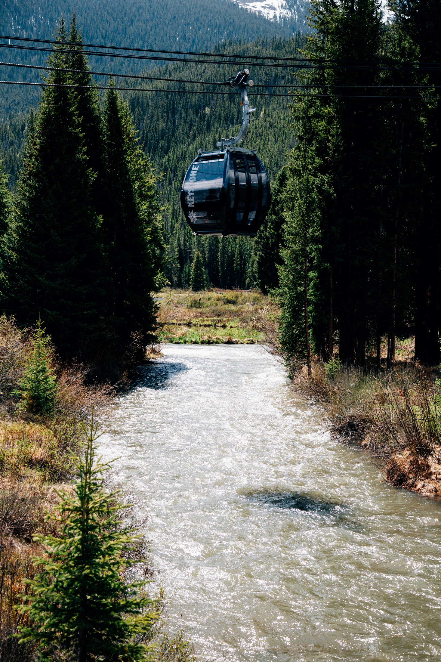 Gondola over the creek at Center Village.