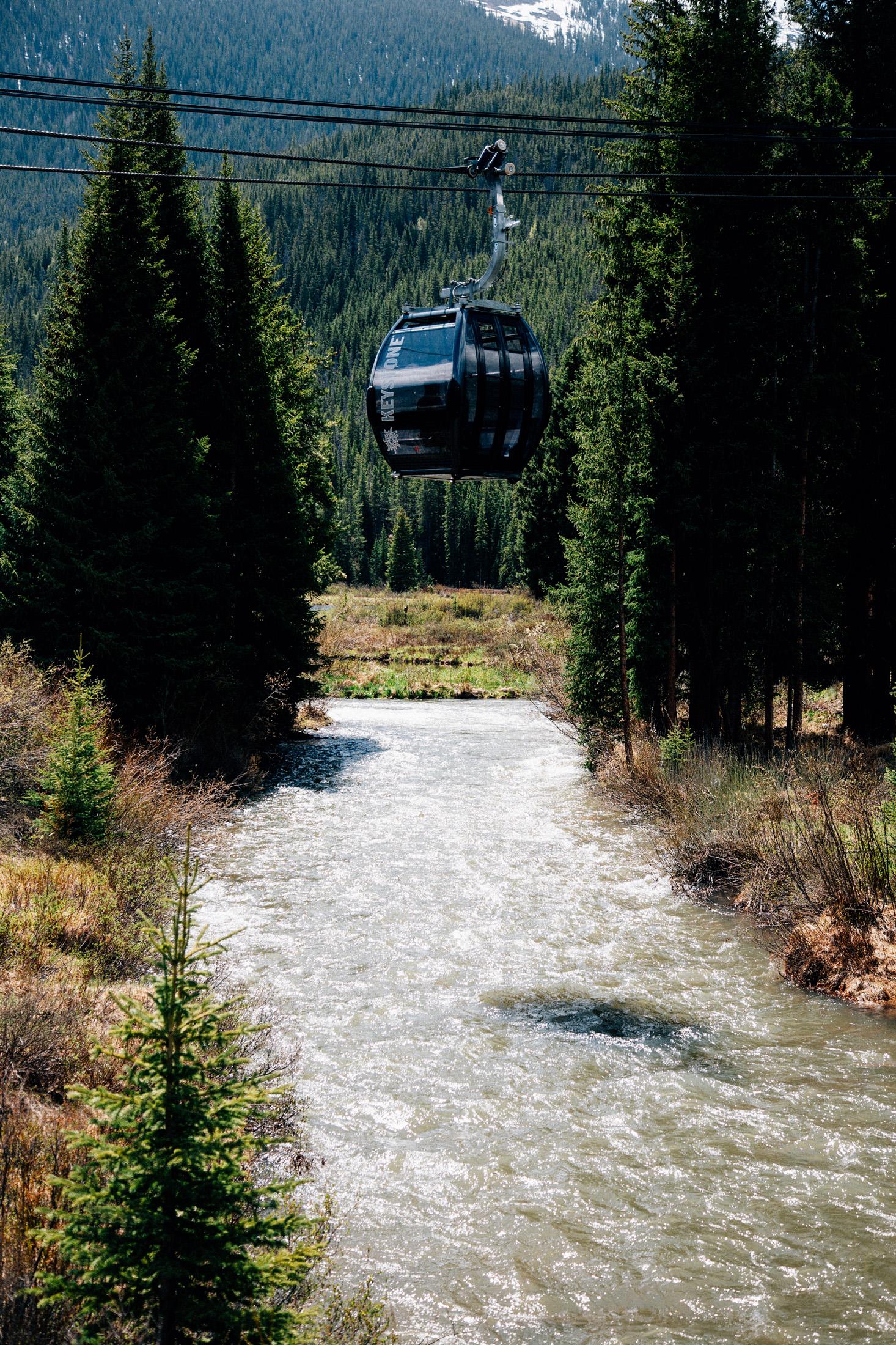 Gondola over the creek at Center Village.