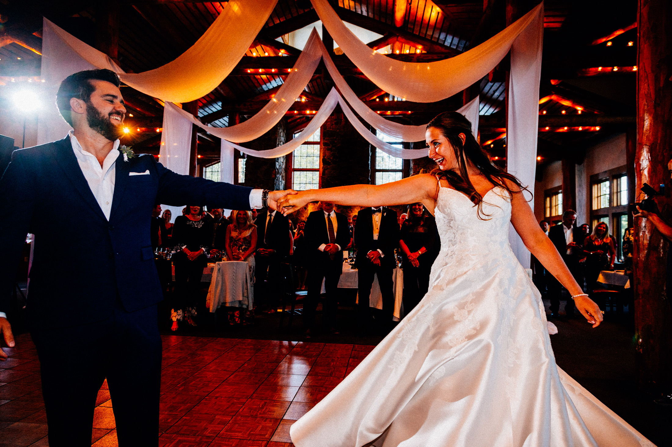 Bride and groom first dance in the Timber Ridge Lodge.