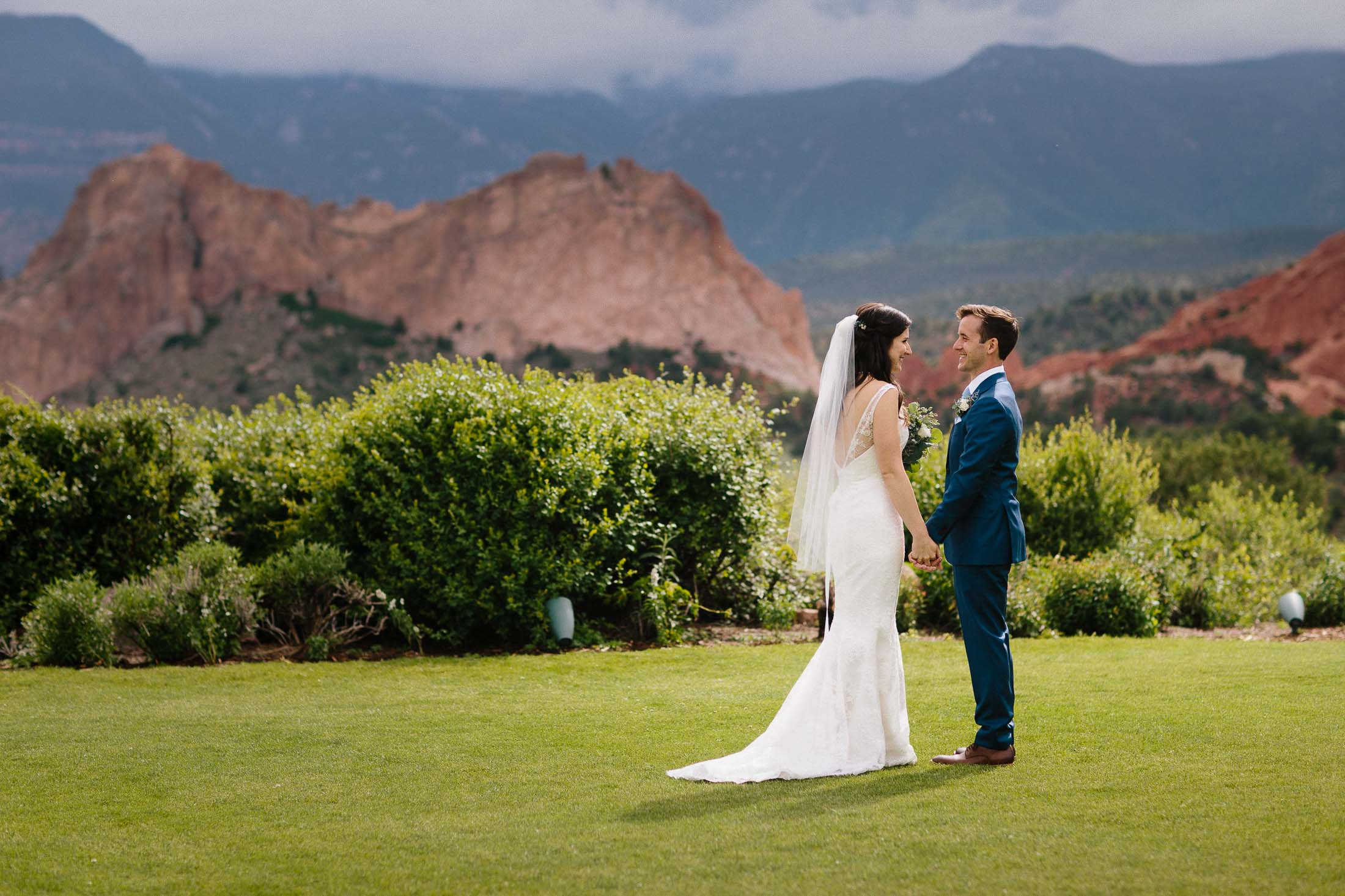 Bride and groomsstand together on the lawn in front of the Garden of the Gods rock formation.