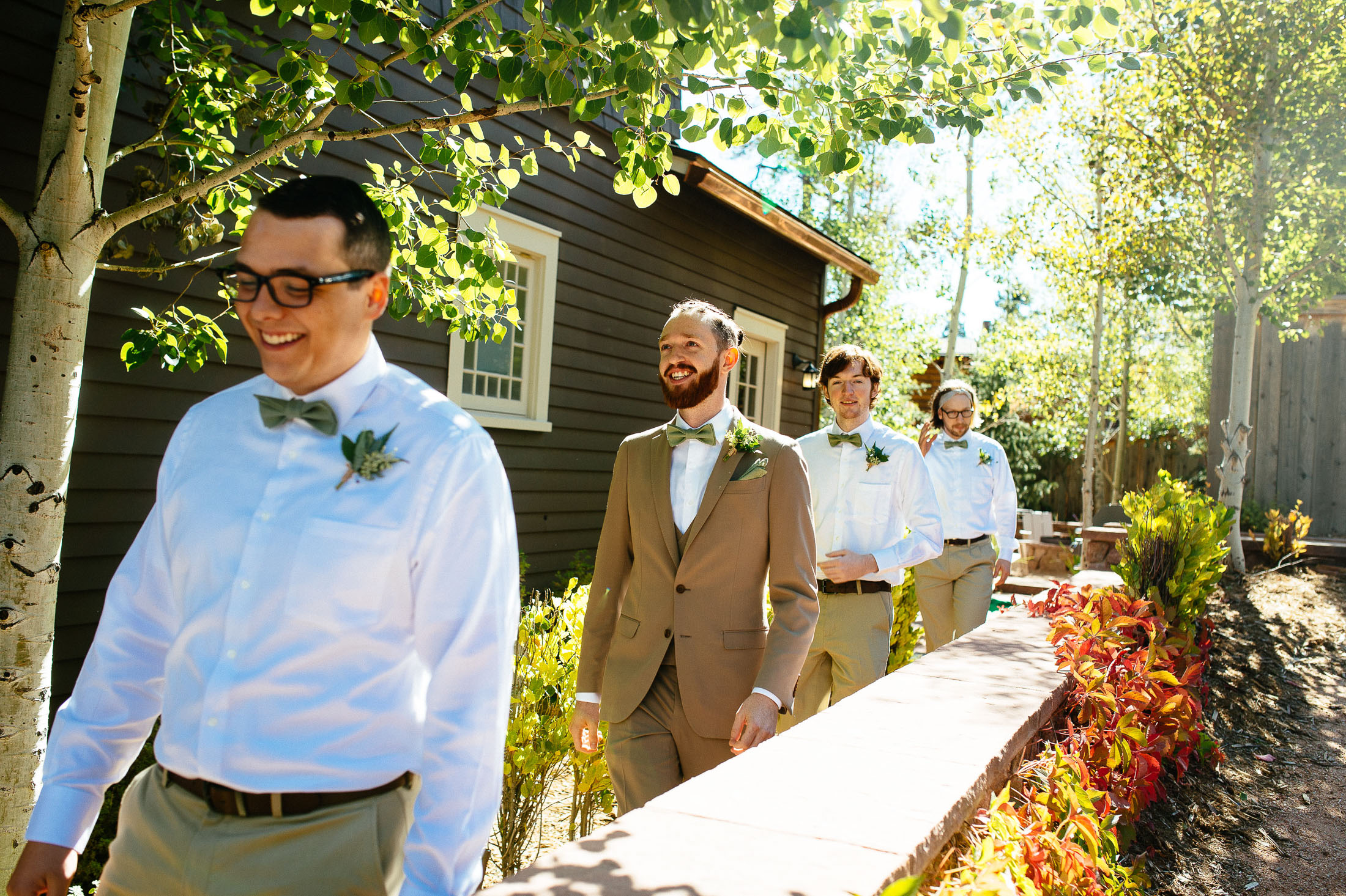 Groom with groomsmen at the Outlook Lodge.