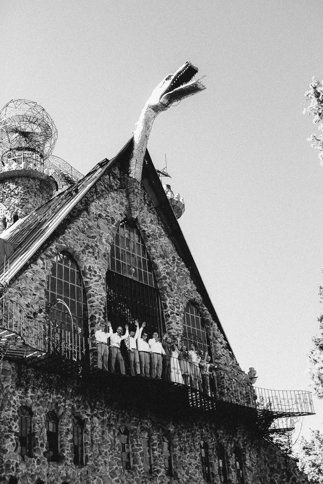 Black and white photo of wedding party standing on walkway atop Bishop Castle.