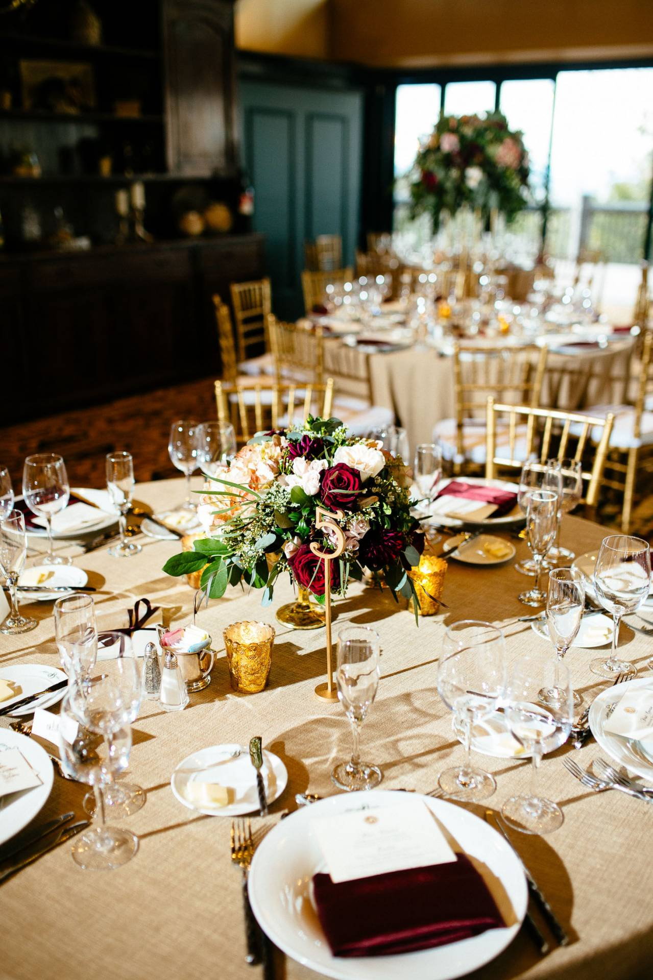 Table settings and centerpieces inside the Cheyenne Lodge at The Broadmoor.