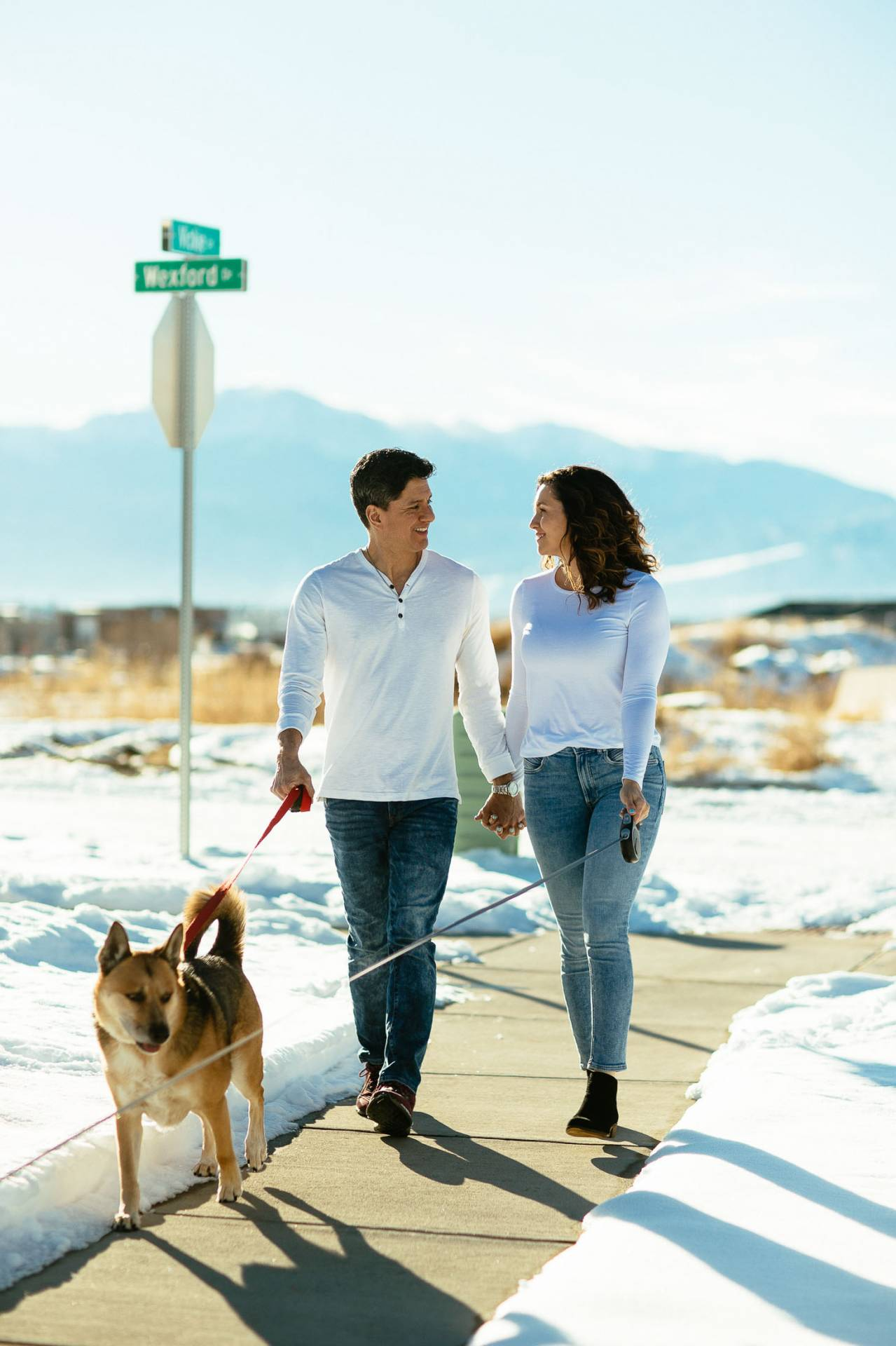 Couple walks dogs together and holds hands with Pikes Peak in the background.