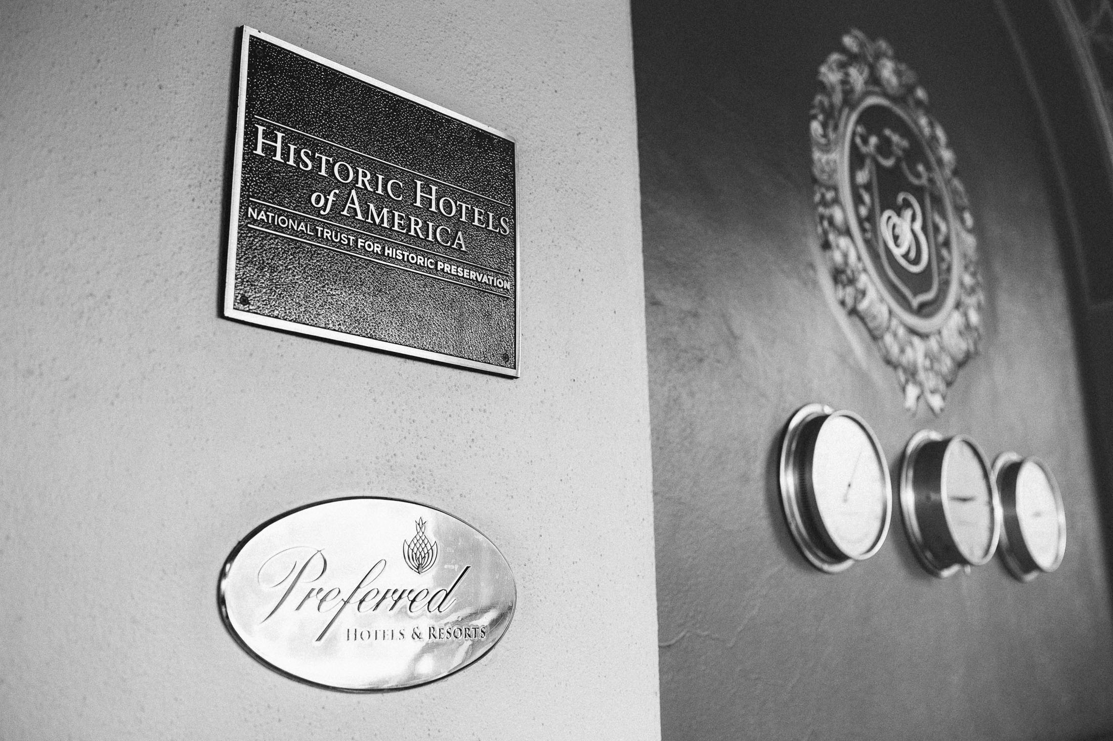 Black and white photograph displaying preferred hotel sign at The Broadmoor.