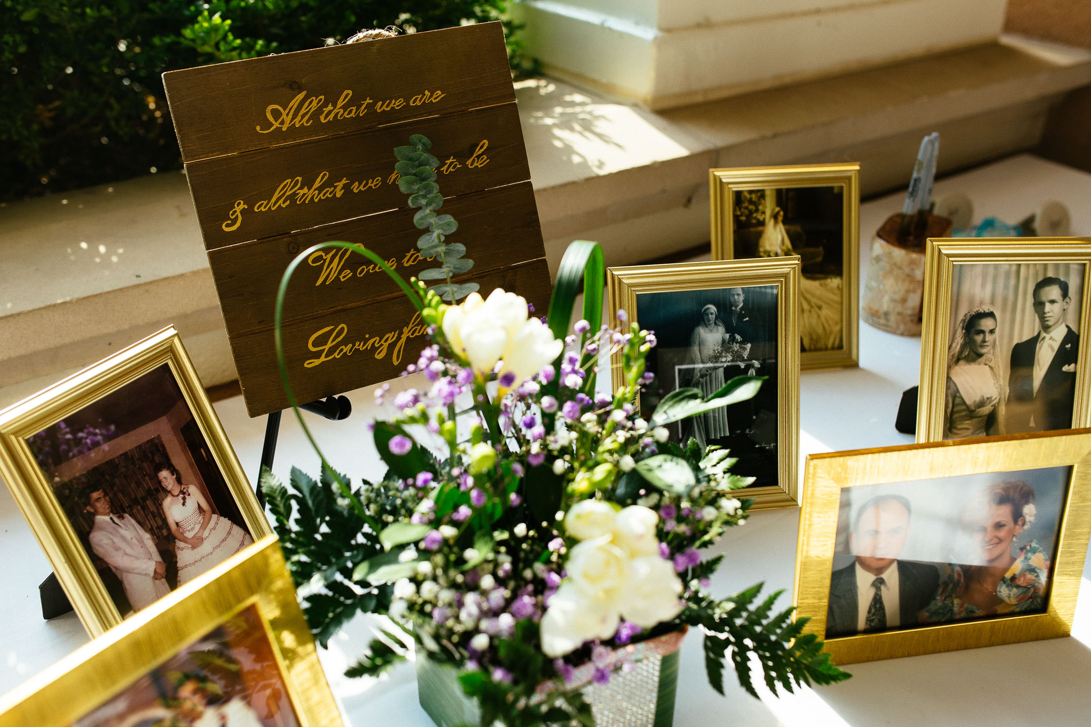 Flowers and wedding photos on display at The Broadmoor.